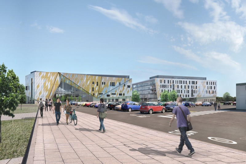 A visualisation of the completed Arne House alongside Poole Gateway Building, from the perspective of the adjacent car park at Talbot Campus