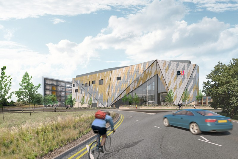 A visualisation of the completed Arne House from the perspective of Boundary Roundabout, approaching Talbot Campus