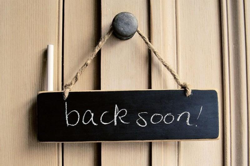 back soon sign
