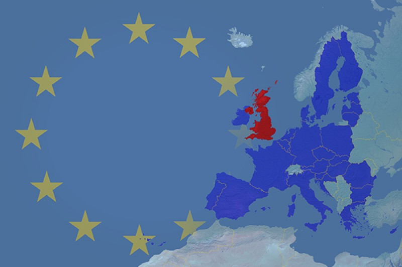 A map of Europe overlaid with EU stars, EU member countries in blue and Great Britain in red