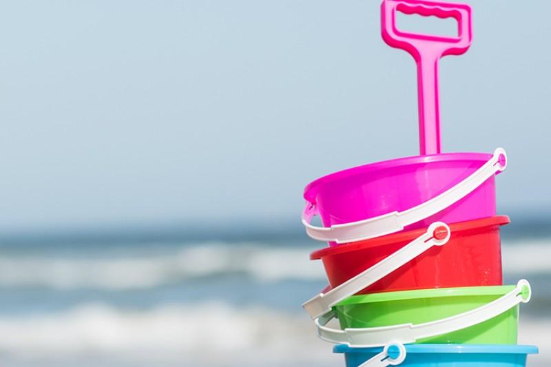 Buckets and spade on the beach