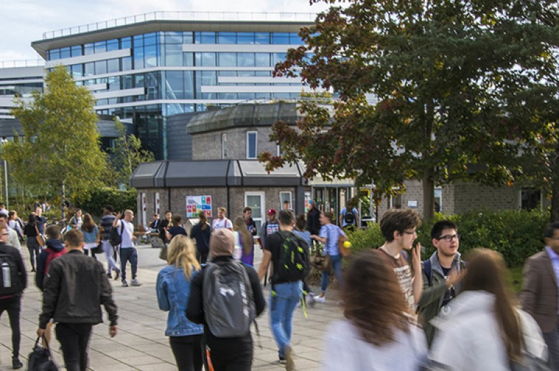 A busy courtyard on our Talbot Campus