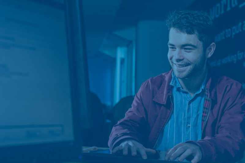 A student at a computer