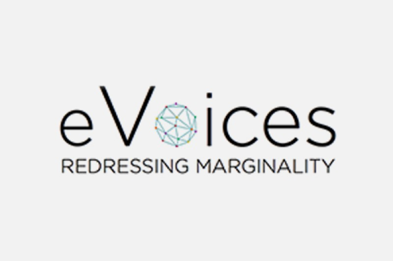 "eVoices logo, reading ""eVoices, Redressing marginality"""