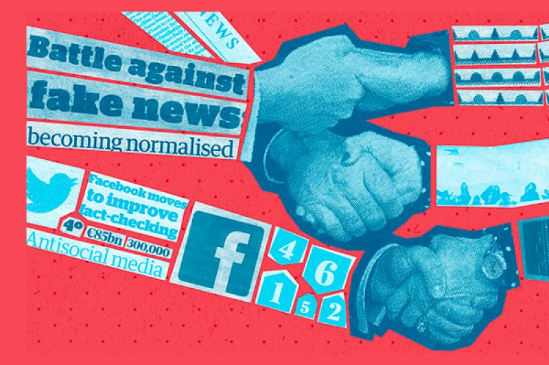 "A graphic containing the words, ""Battle against fake news becoming normalised"" and ""Facebook moves to improve fact-checking"""