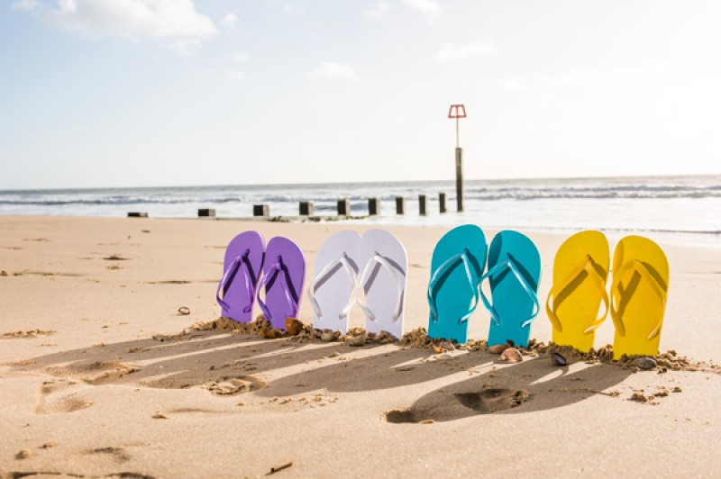 multicoloured flipflops