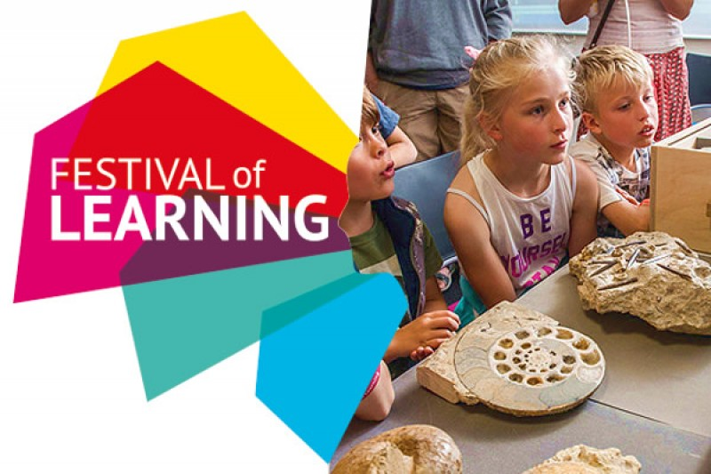 Festival of Learning ident and children with fossils