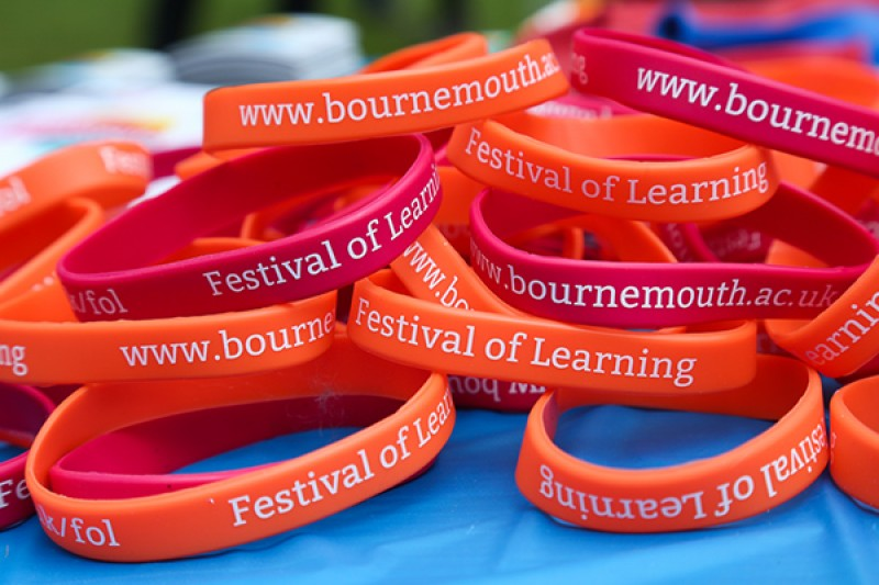 BU-branded wristbands from the Festival of Learning