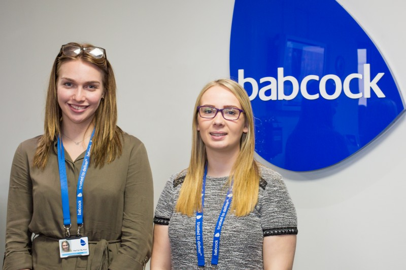 Harriet and Shannon on placement at Babcock