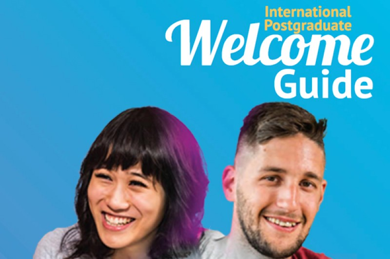 A section of the cover of the Postgraduate Welcome Guide cover