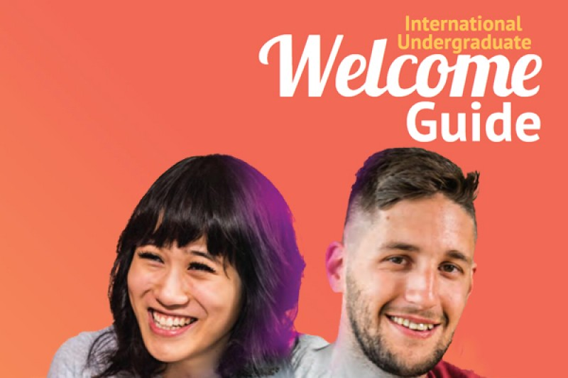 A section of the cover of the International Undergraduate Welcome Guide cover