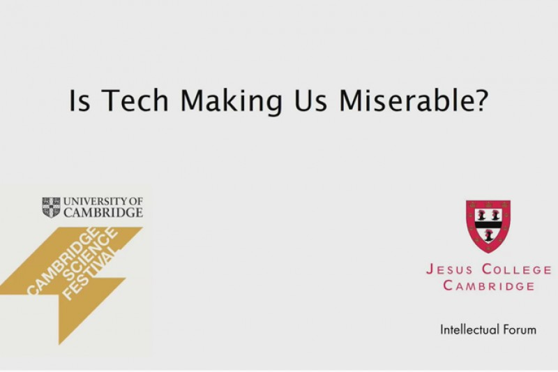 Is tech making us miserable? presentation start screen