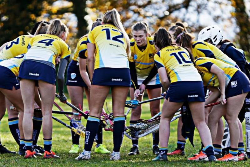 Womens Lacrosse team huddle