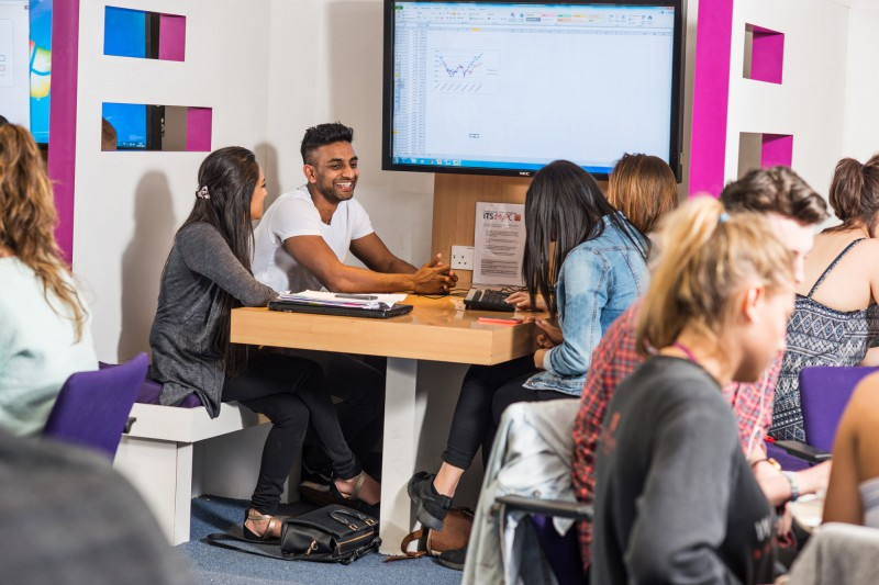international students in library