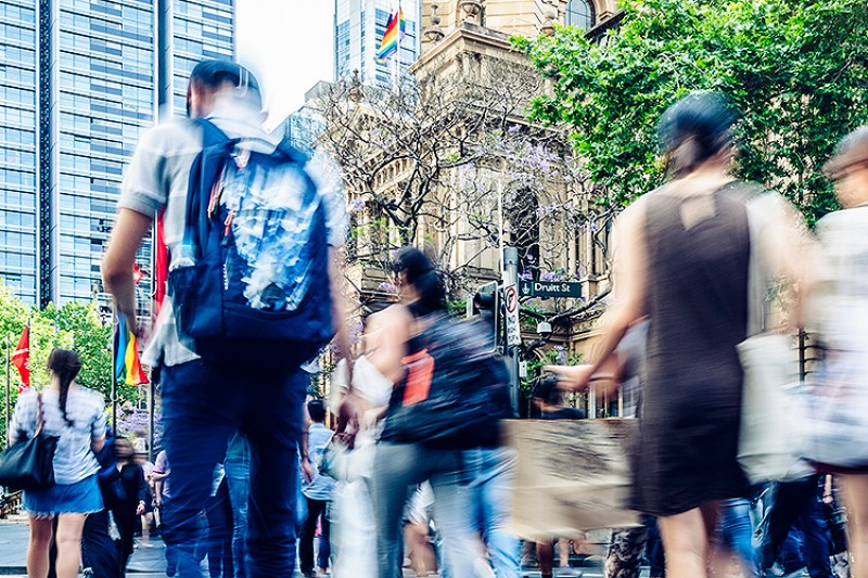 Busy pedestrian crossing in Sydney, Australia