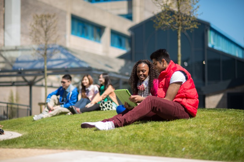 International students on grass in the main courtyard