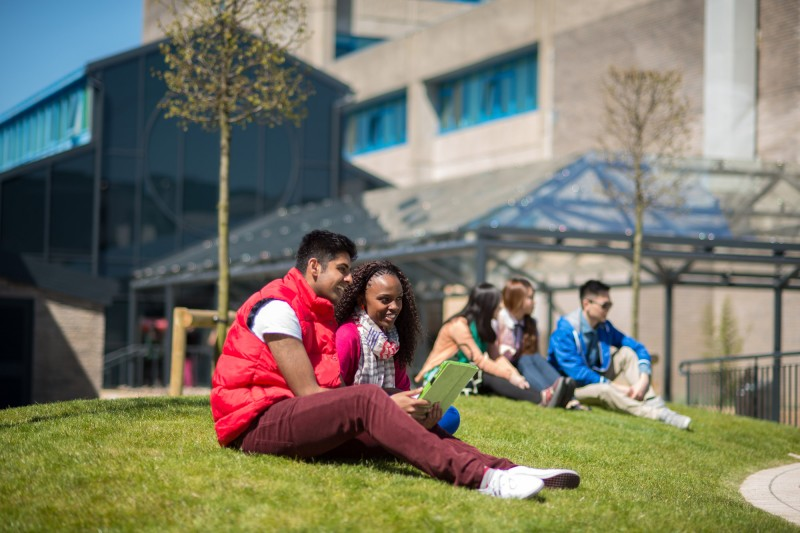 international students on grass