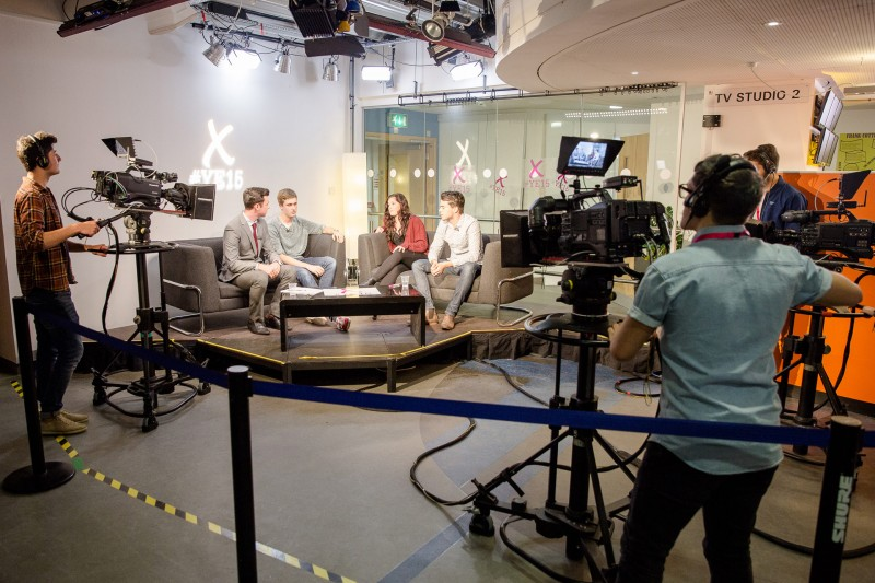 Media students filming an interview
