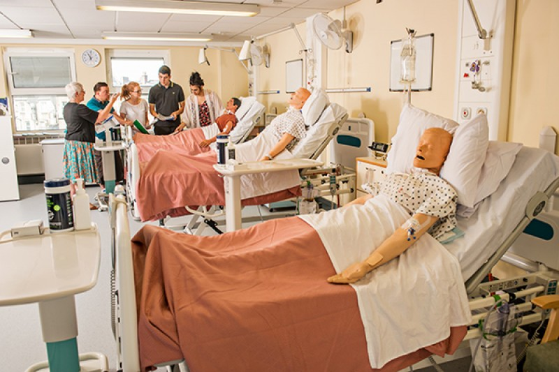 Mental health nursing students in a practical session on the ward
