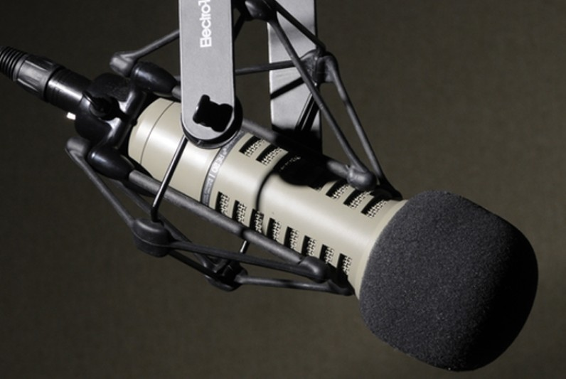 A microphone in a dark room