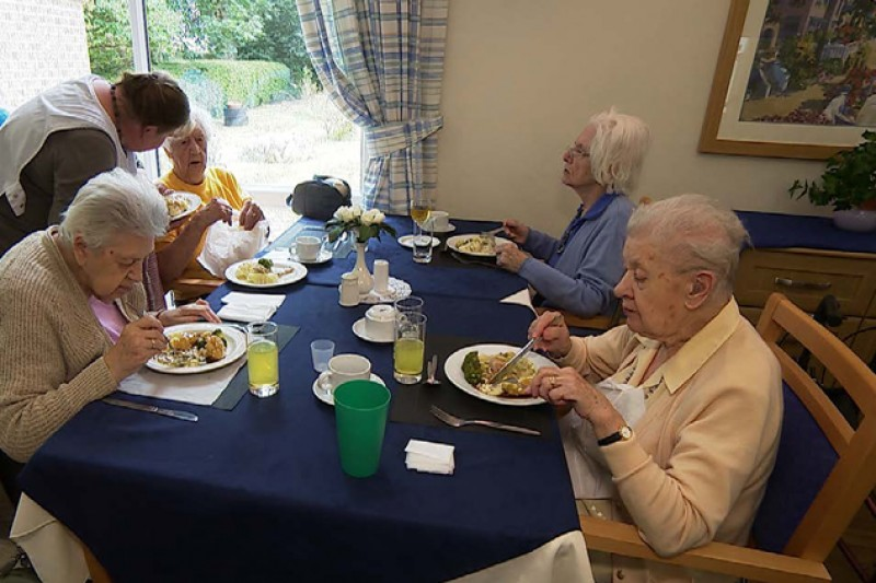 Patients eating in a care home