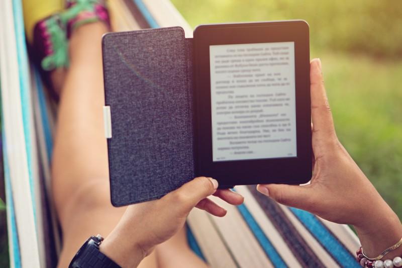 Person reading an e-reader