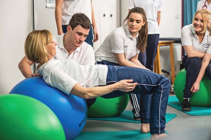 Image of physiotherapy exercise ball demonstration
