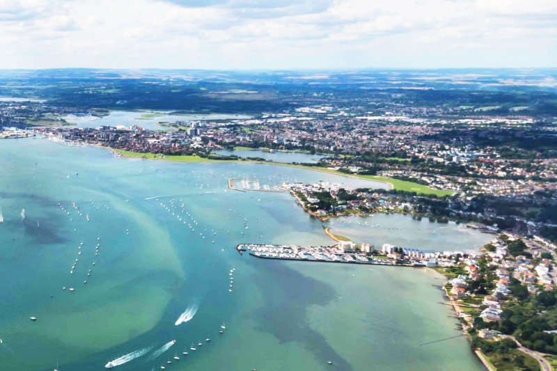 Aerial view of Poole Harbour, including Brownsea Island