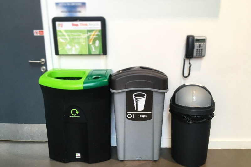 image of recycling bins at BU