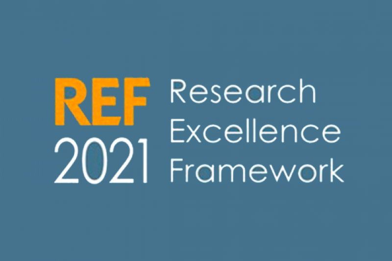 REF 2021 logo with the text, 'REF 2021 to the left and 'Research Excellence Framework' to the right