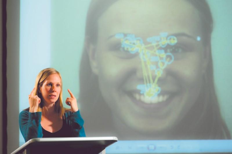 Dr Sarah Bate presenting research