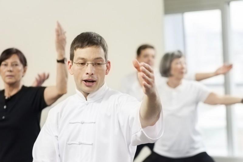Seniors doing tai chi exercises