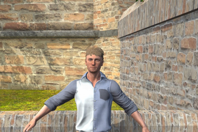 CGI man by a church wall