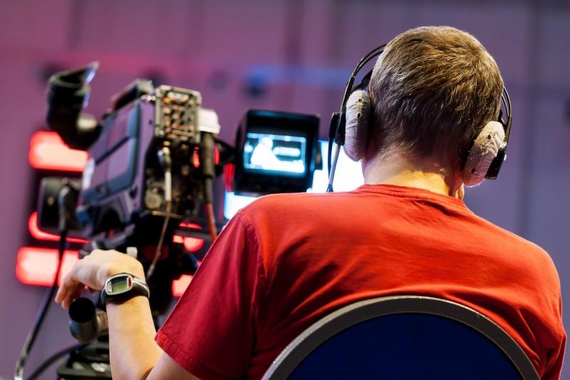 Cameraman in a television studio