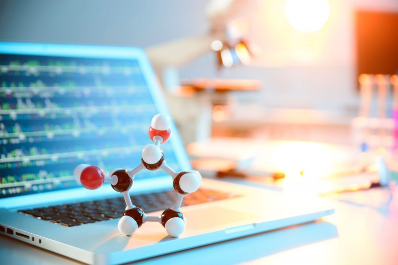 Molecules with laptop