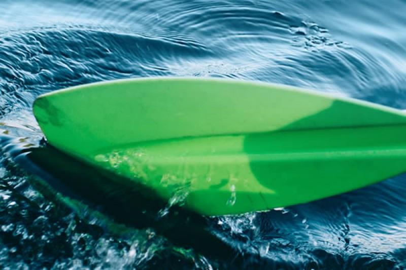 Kayaking paddle and hand