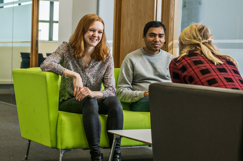 Students sitting in Executive Business Centre