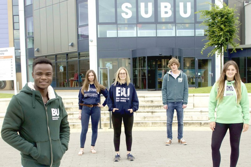 Students in front of the SUBU building at Talbot Campus