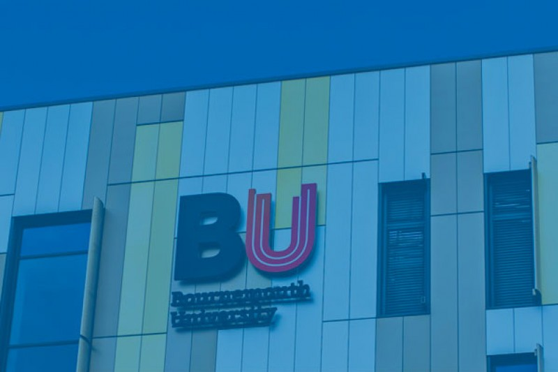 Top of Bournemouth Gateway Building, with the BU logo in the centre