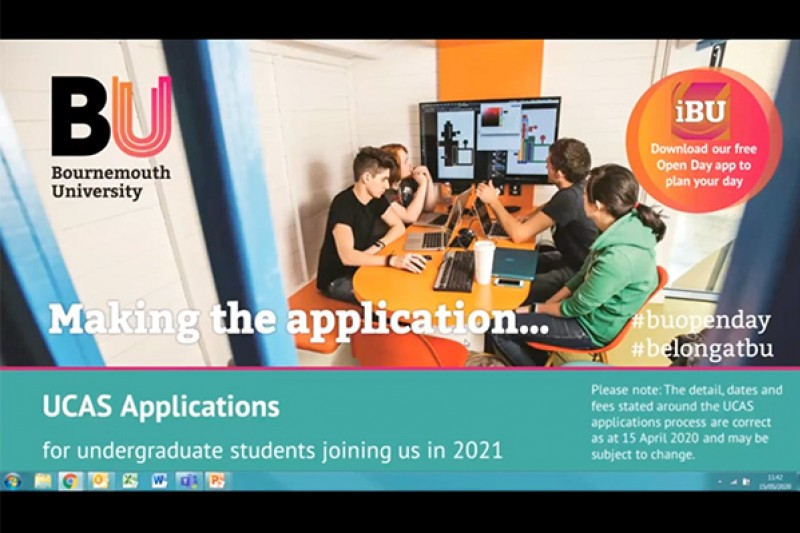UCAS application process presentation start screen