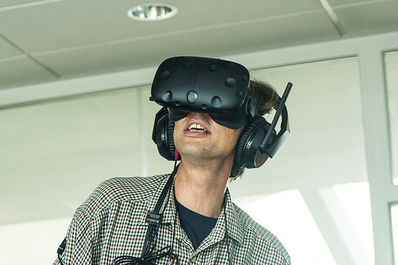 Image of a man with a virtual reality headset