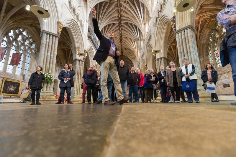 People in Exeter Cathedral – England