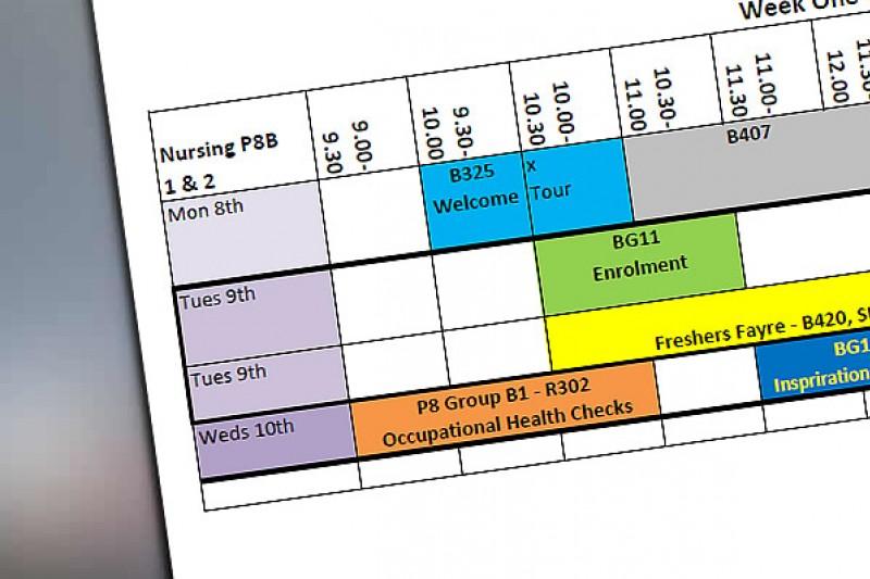 Week One Timetable Nursing Groups P8 B1 & P8 B2