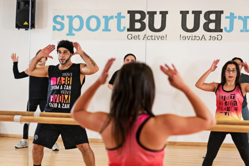 A Zumba class in action