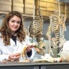 BU student Amber Williams in the Anthropology lab