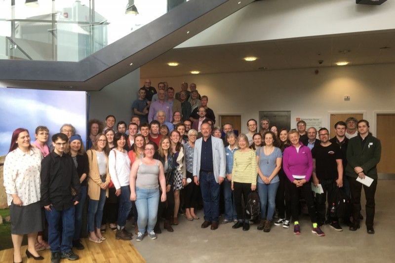 Staff and students gathered in Kimmeridge House