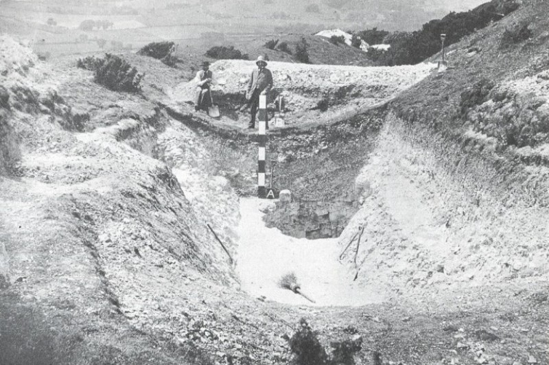 Cissbury: a Neolithic flint mine being investigated in 1875 and recorded in this very early archaeological photograph
