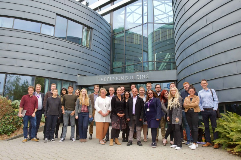 NCTJ community reporters, BU staff and students outside the Fusion Building