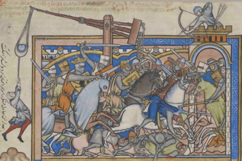 13th century manuscript showing medieval knights fighting in armour, with wounds similar to those in the mass graves
