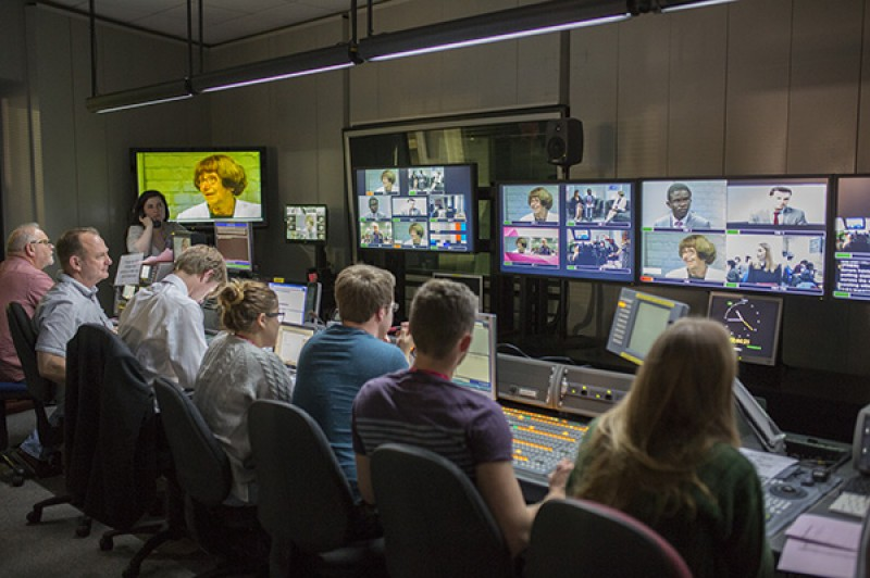 Election coverage production team in TV studio
